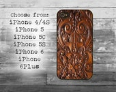 Wood carving phone cover - iPhone 4/4S, iPhone 5/5S/5C, iPhone 6/6+, iPhone 6s/6s Plus case - wooden flowers iPhone case