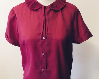 Sweet Plum Blouse w/ Peter Pan Collar
