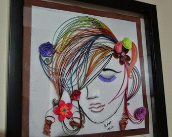 Quilled Portrait 'Shy Girl'