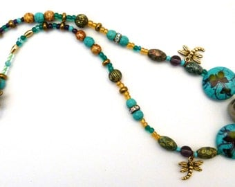Mostly Touquoise Necklace with Butterflies and Dragonflies, N0036