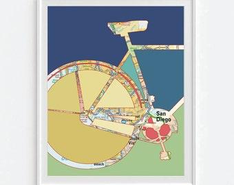 San Diego California Bicycle Vintage Map ART PRINT, Bicycle bike biking cycling art, gift for couple her, wedding gift, beach art All Sizes