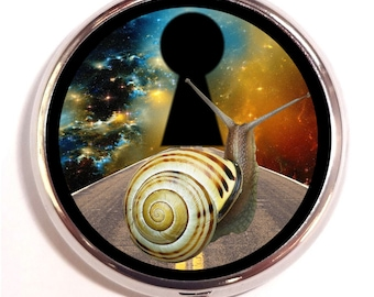 Snail in Outer Space Pill box Pillbox Case Holder - Cosmic Visionary Artwork - Surreal Snail on Road - Doorway - Surrealism - Guitar Picks