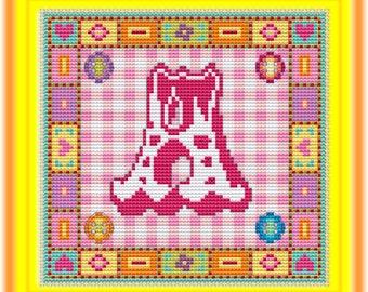 Fancy Circus Letter  A B C D Cross Stitch Kit // DMC Thread Kit // Cross Stitch Pattern