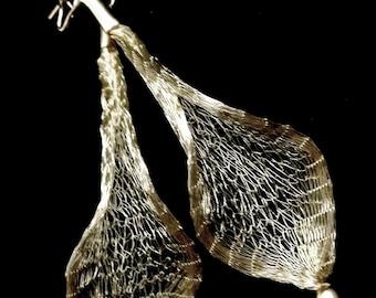 Silver leaf dangle earrings, silver leaf earrings, long earrings, nature jewelry, wire mesh earrings, mesh jewelry