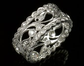 Edwardian Style 18k White Gold and  Diamond Mill Grained Wide Eternity Band Size 4.5