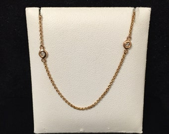 14 K Rose Gold 18 Inch Diamond by The Yard Pendant