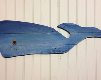 """Cute Wooden Whale Wall Art, 30"""" Rustic Whale wall decor, pallet wood whale, whale nursery, beach cottage, or nautical theme or ocean decor"""