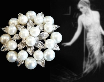 Vintage Faux Pearl and Rhinestone Cluster Brooch