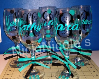 Set of 4 Bridemaids Wine Glasses
