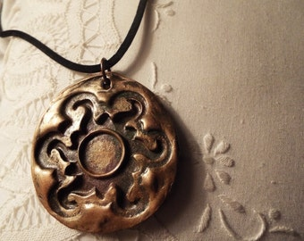 Hand stamped Polymer clay Pendant