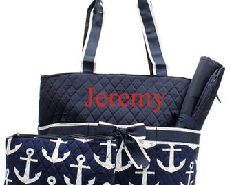 Monogram Diaper Bag Quilted Navy Anchor