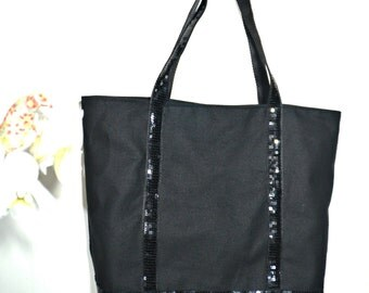 Tote with sequins, black sequin bag