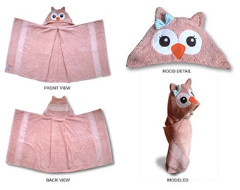 pink owl hooded towel