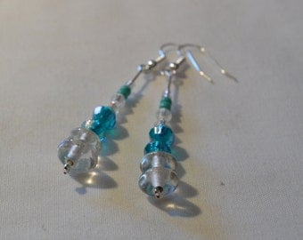 Aqua and clear beaded dangle earrings