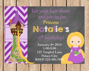 Tangled Rapunzel Invitation and Thank You Card
