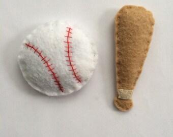 Felt Baseball and Baseball Bat Catnip Cat Toy Handmade