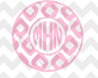 Ikat Circle Monogram Design .SVG/.DXF/.PNG for use with Silhouette Studio