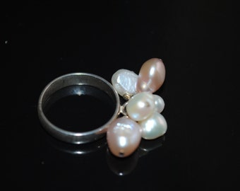 Sterling Silver Freshwater Pearls   Ring -Freshwater Pearls Ring- Gemstone Ring-Jewelry Set
