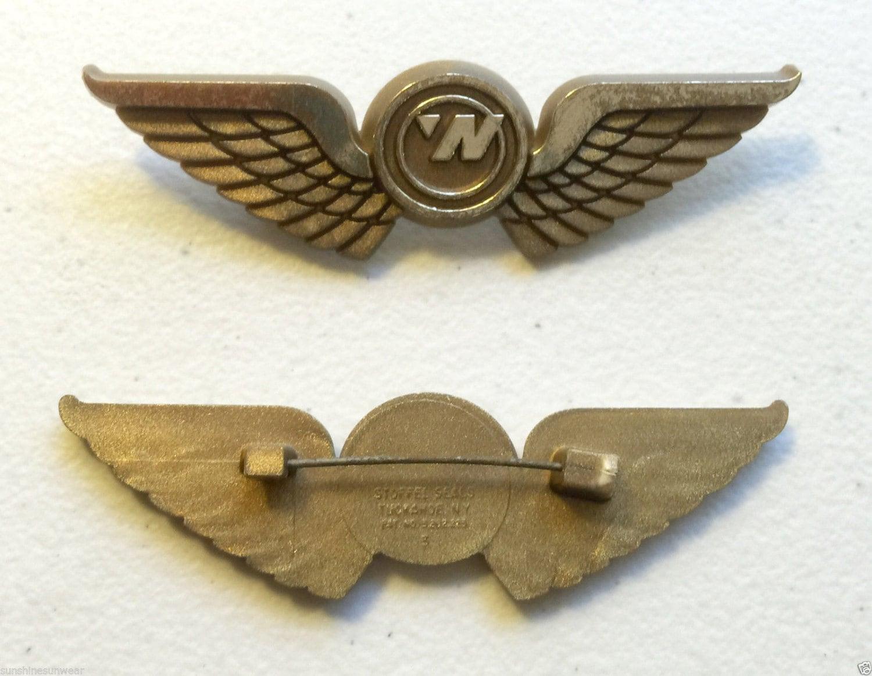 Vintage NORTHWEST AIRLINES 1990's Junior Crew Member Pilot Plastic Kiddie  Wings Pins Set of 2