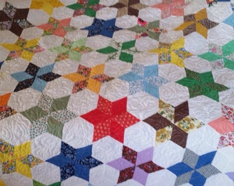 Diamond Star Quilt - Vintage Top, Newly Quilted