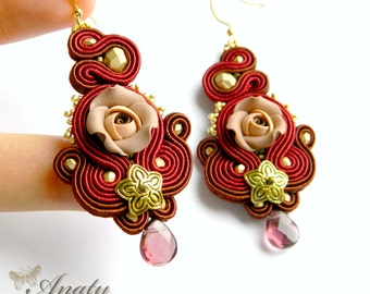 Dark red statement earrings, Art jewelry, Polymer Rose Earrings, Dark Red Earrings, Soutache Earrings, Soutache Jewelry, Dangle Earrings