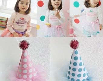 Polka dot birthday party cone hair clip