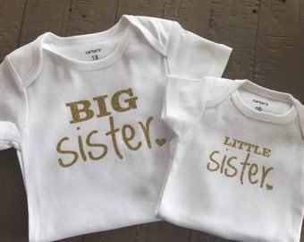 Gold Big Sister Little Sister Shirt Set