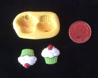 2 cupcakes tiny mold # 236 flexible silicone soaps scrap book cakes sugar jewelry clay minimolds food miniatures miniature doll accessories
