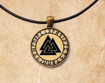 Occult pendant Valknut jewelry Rune necklace