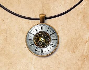 Vintage necklace Clock jewelry Watch pendant