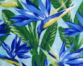 Quilting fabric by NORTHCOTT , SHANGRI-LA, blue Bird of Paradise, 1 yard 100% cotton