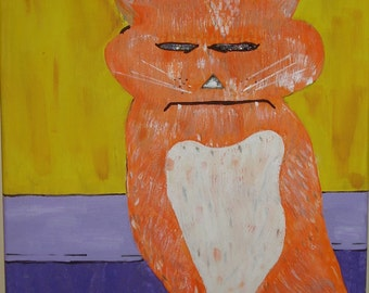 Funny Cat Painting - Cat Painting