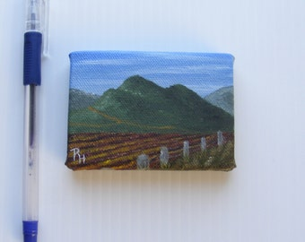ACEO Landscape Oil Painting - original painting, farm painting, hills, farm field, agriculture painting - Farmer's Delight by Robin Harvey