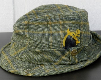 Vintage Pendleton Wool Fedora Green and Yellow Plaid with Feathers Size 7     00128