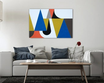 Original Abstract Geometric Triangle Painting 36x24