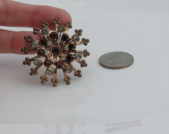 Vintage Brooch with Dark Red and Clear Rhinestones