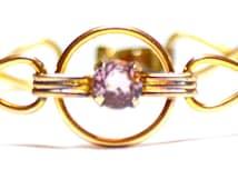 Vintage Amco Gold Filled over Sterling Amethyst Glass Bracelet