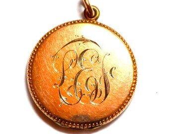 On Sale***Antique Victorian Gold Filled Locket with Dotted Edge and Monogram