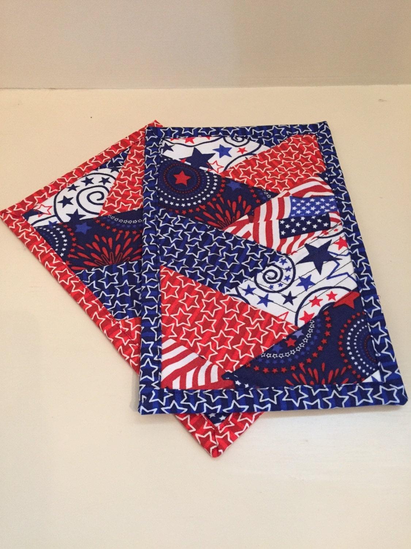 patriotic mug rug in red white and blue. Black Bedroom Furniture Sets. Home Design Ideas