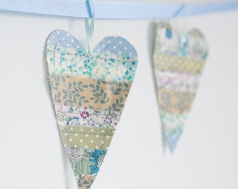 Fabric Heart Bunting Banner blue, green, lilac & cream