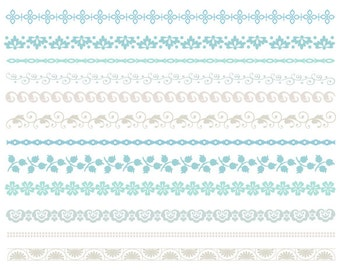 Blue/Grey Digital Border Clip Art Digital Flourish Swirl Border Clip Art Grey Blue Flower Border Scrapbooking Embellishments Invitation 0104