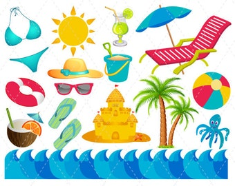 Digital Beach Vacation Clip Art Summer Fun Clipart Summer Vacation Scrapbooking, Beach Ball Beach Chair Umbrella Bikini Flipflops Sun 0131