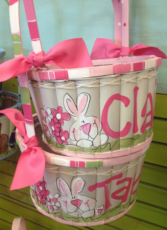 Personalized Hand Painted Easter Basket by meandcostudios on Etsy