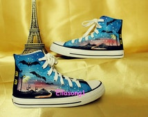 Painted Galaxy Converse Custom Shoes,Hand Painted Shoes,Custom Converse,Painted Shoes,Birthday Gifts,Fashion Sneaker,Casual Shoes 132