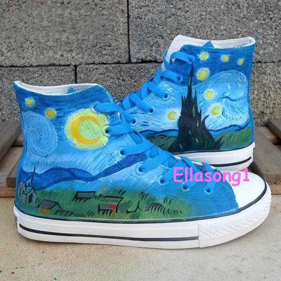 painted galaxy canvas shoes casual high top shoes fashion