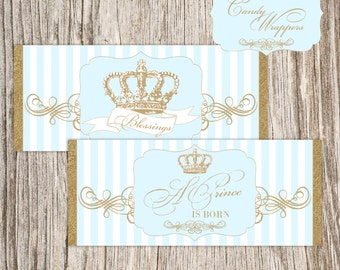 Gold, Crown, Baby Shower, Baptism, Christening, Prince, First Communion, Wrapper, Candy, Chocolate, Bar, Labels