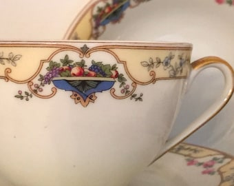 "1920's Royal Schwarzburg ""Martia"" pattern china-with fruit in blue baskets.  29 pieces."