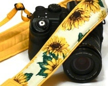 Sunflowers Camera Strap. DSLR Camera Strap. Canon Nikon Camera Strap. Yellow camera strap. Camera Accessories