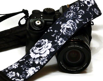 Black and White Roses Camera Strap. Canon Nikon Camera Strap. Photo Camera Accessories