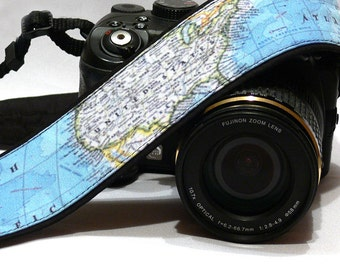 World Map Camera Strap. Canon Nikon Camera Strap. SLR, DSLR Camera Strap. Gift For Photographer.